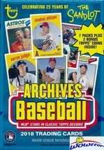 2018 Topps Archives Baseball Blaster Box Cards 7 Packs + 2 Bonus Coins MLB - $21.95