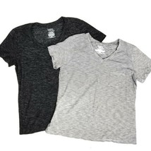 Time & Tru Womens Tshirt Lot of 2 L Black White Striped Shirt Bundle - $10.00