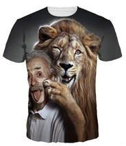 Summer Popular New Womens/Mens Einstein lion spac animal  Funny 3D print T-Shirt - $36.80