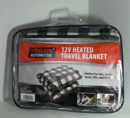 TREKSAFE TRAVEL HEATED BLANKET 12V AUTOMOTIVE BLACK GRAY WHITE GEOMETRIC PATTERN
