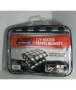TREKSAFE TRAVEL HEATED BLANKET 12V AUTOMOTIVE BLACK GRAY WHITE GEOMETRIC... - $24.45