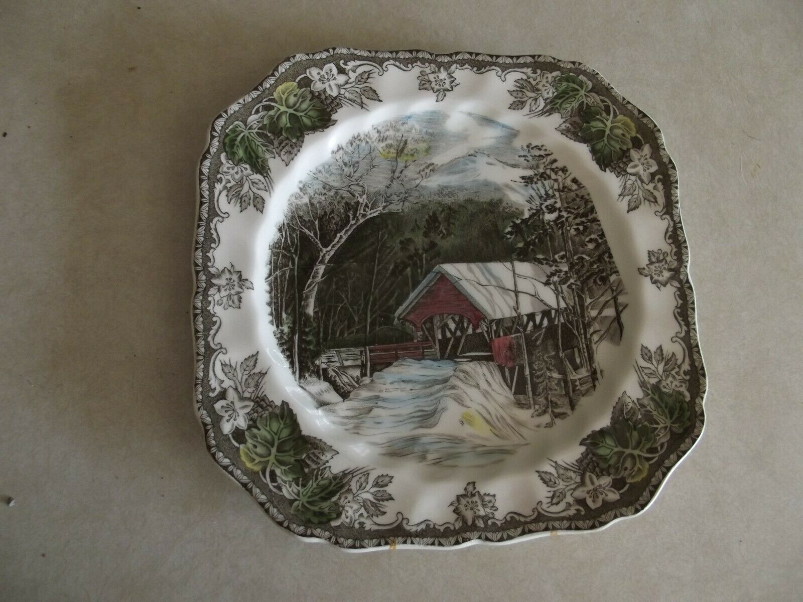Johnson Brothers Friendly Village The Covered Bridge sq. salad plate 1 available