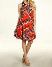 Jessica Simpson Dress Sz 6 Red Argyle Poinciana Pleated A-Line Casual Pa... - $39.53