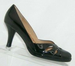 Sofft 'Gabriela' black patent leather round toe laser cut out slip on heels 8M  - $35.17