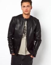 Men Genuine Lambskin Leather Jacket Black Motorcycle Slim fit Biker Jack... - $107.99