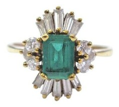 18Kt Gem Colombien Vert Émeraude & Multi Forme Diamant Bague or Jaune 1.... - $1,611.23