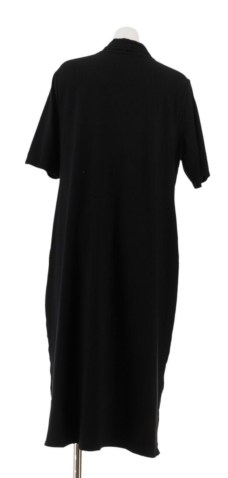 H Halston Essentials Turtleneck Midi Dress Black L NEW A311545
