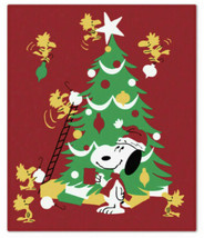 Peanuts Snoopy Woodstock Decorating Christmas Tree Throw Blanket by Hall... - $54.44