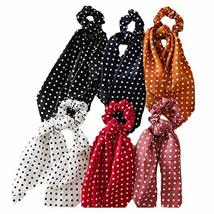 6 Pcs Polka Dots Hair Ribbon Scrunchies Polyester Elastic Hair Band Bow Scarf Sc