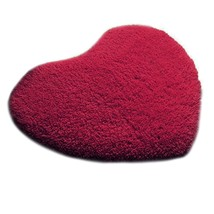 Solid Color Thick Fluff Heart Door Ground Foot Mat Carpet   wine red  40... - $11.39+