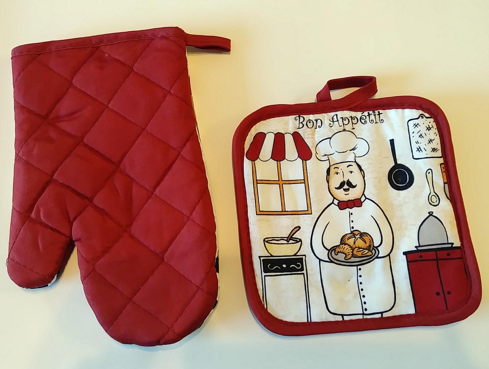 FAT CHEF OVEN MITT SET 2pc Potholder Kitchen Decor Red Cook Bon Appetit NEW