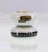 Fenton Milk Glass Collegiate Bead Purdue University Sterling Silver NCAA... - $35.00