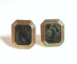 "Vintage Avon Gold Tone Green Tortoise Shell ""Marble"" Rectangle Clip Earr... - $9.79"