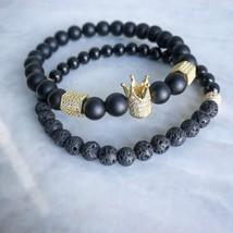 2pcs/set Men Woman Bead Bracelet Crown Charm Bangle Natural  Beads Buddha Bracel - $22.36