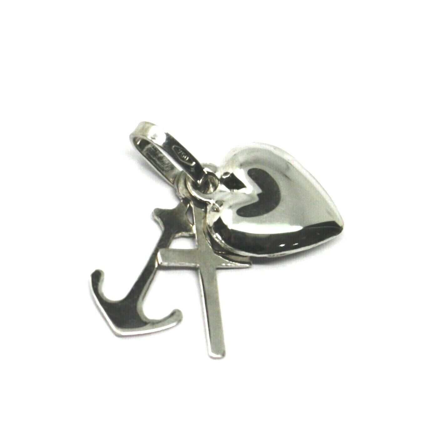 Primary image for 18K WHITE GOLD FAITH HOPE CHARITY PENDANT CHARM 17 MM SMOOTH HEART KEY CROSS
