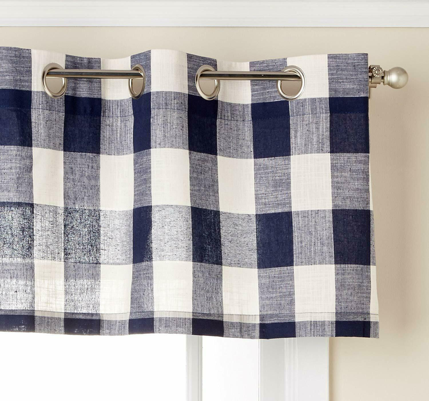 "Primary image for Courtyard Plaid Woven Curtain Valance with Grommets, Navy, 18"" length, Lorraine"