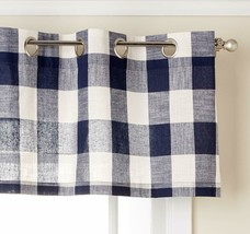 "Courtyard Plaid Woven Curtain Valance with Grommets, Navy, 18"" length, Lorraine - $12.99"