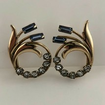 Carl Art Vintage Blue Rhinestone Screw Back Earrings 1940s gold filled S... - $24.75