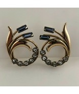 Carl Art Vintage Blue Rhinestone Screw Back Earrings 1940s gold filled S... - $24.75