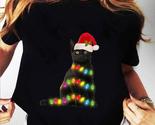 Black Cat christmas light funny cat lover christmas T-shirt, Unisex T-shirt