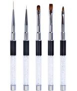 Ycyan 5Pcs UV Gel Nail Brush Set Rhinestone Handle Brushes Nails Art Des... - $40.47