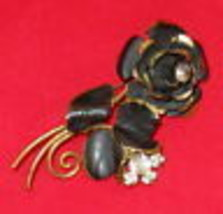 Long Stem Black Rose Pin Made In Austria Vintage Rhinestone Brooch - $19.75