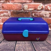 VTG Caboodles Make Up Carrying Case #2622 Mirror 2-Tier Tray Purple Fuchsia Teal - $45.00