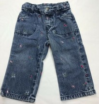 B.T. Kids Sz 12 Months USA Made Girls Jeans Pink Embroidered - $36.01