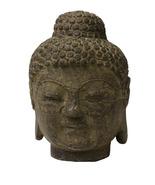 Chinese Oriental Brown Gray Stone Carved Buddha Head Figure cs3715 - $195.00
