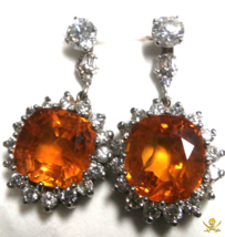 Orange Sapphire Earrings 21+ct Oval w/ Diamonds GIA Pirate Gold Coins Je... - $14,950.00