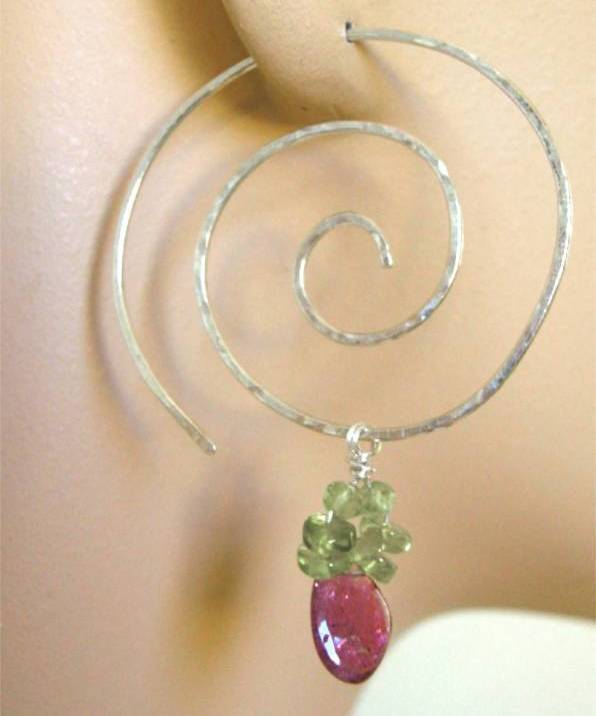 Tourmaline Hoop Earrings Silver Spiral Hoops Gem Bliss charms