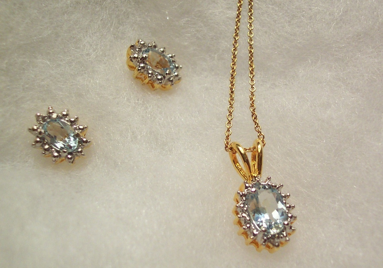 Blue Topaz Necklace and Earring Set - 16 Point Design Bonanza