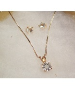 Blue Topaz Solitaire Necklace and Earring Set - $45.00