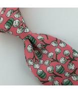 Hermes Made In France Neck Tie Cotton Ball Pink Green Necktie Luxury Sil... - $188.09