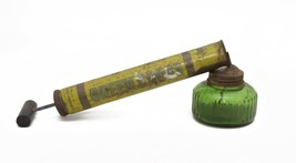 Vintage Green Cross Pump Bug Sprayer Green Glass Jar Wooden Handle USA - $17.33