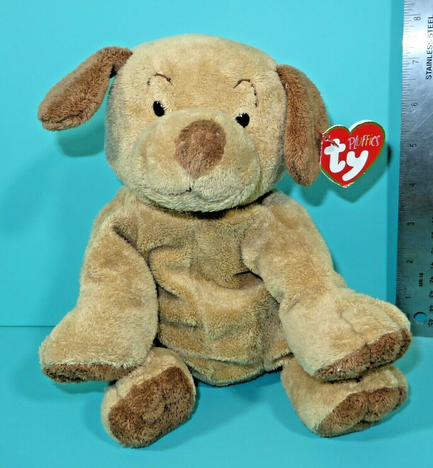 "Primary image for Ty Pluffies Puppers Tan Brown Puppy Dog 9"" Plush Plastic Eyes Lovey 2003 w/ Tag"