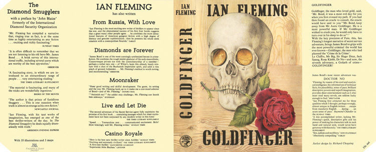 Fleming-Facsimile dust jacket for 1st 1959 UK edition of GOLDFINGER