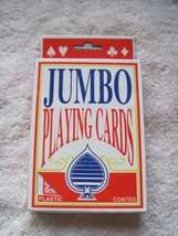 """Plastic Coated Jumbo Playing Cards 3.5x5"""" Large Easy See Have Fun! Red B... - $8.00"""