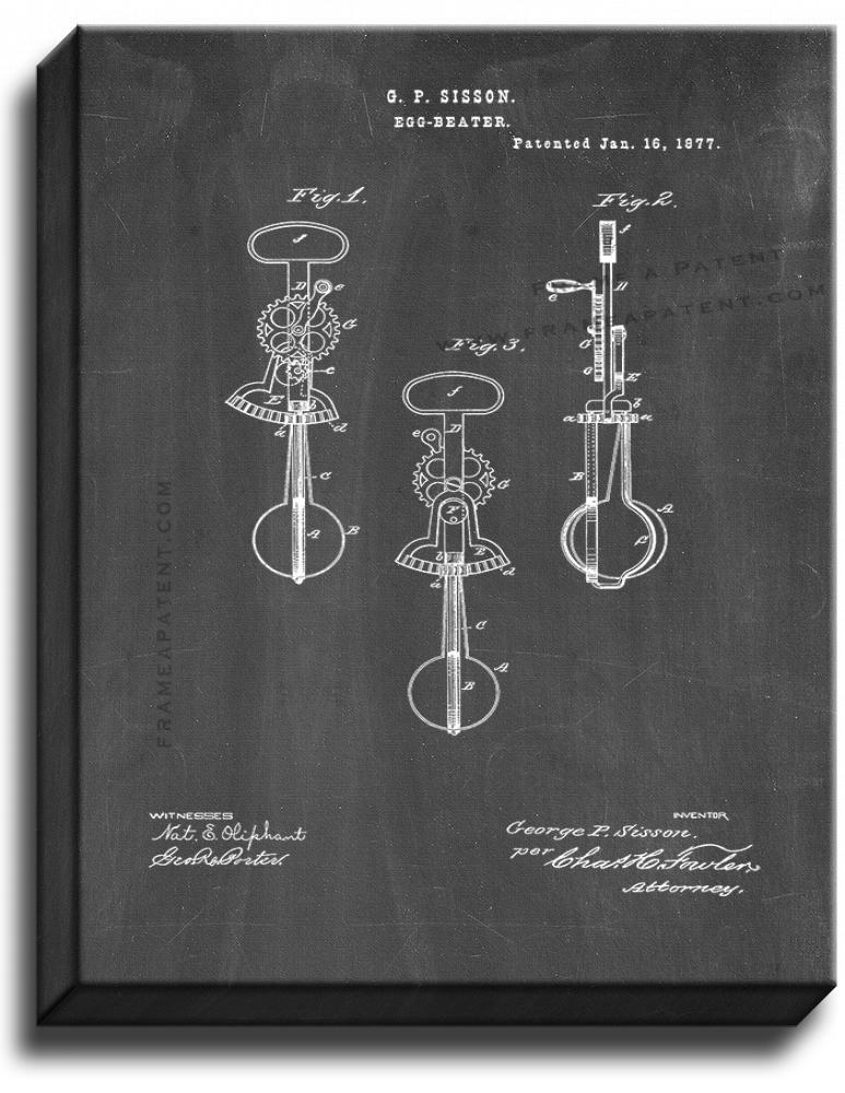 Primary image for Egg Beaters Patent Print Chalkboard on Canvas