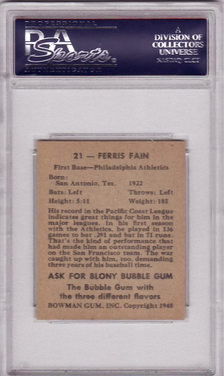Ferris Fain 1948 Bowman #21 PSA 7 NM