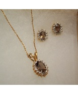 Smokey Topaz Necklace and Earring Set - $45.00