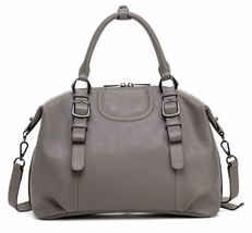 New Gray Pebbled Italian Leather Handbag Satchel Shoulder Bag Purse - $153.40