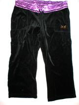 New Pick Me Velour Capris Purple Black Womens Medium Crop Lounge Drawstr... - $10.00