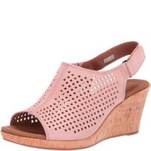 Rockport Women's Briah Perforated Slingback Wedge Sandals Pink Metallic 10 M - $58.99
