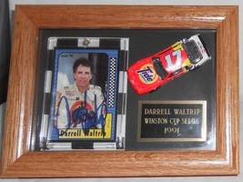 1991 DARRELL WALTRIP AUTOGRAPHED CARD & DIECAST CAR FRAMED IN DISPLAY CASE - $65.00