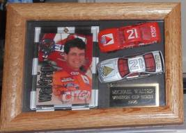 1997 MICHAEL WALTRIP AUTOGRAPHED CARD & DIECAST CARS FRAMED IN DISPLAY CASE - $65.00