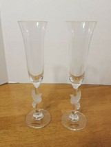 GORHAM CRYSTAL FROSTED DOVE CHAMPAGNE FLUTES SET OF 2 - $34.95