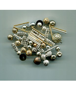 55 metal beads LOT round tube bead mixed lot silver & gold tone filigree... - $2.99