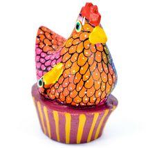 Handmade Alebrijes Oaxacan Painted Wood Folk Art Chicken Hen Basket Figure image 4