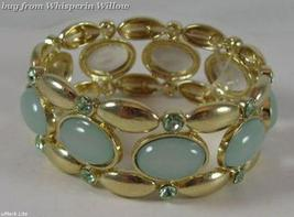 Mint Green with Crystal Accent  Gold Tone Fashion Bracelet - $24.95